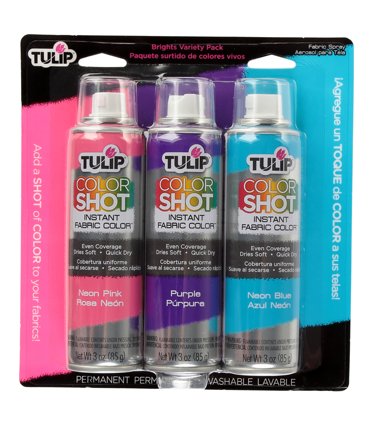 Tulip ColorShot Instant Fabric Color Spray 3pk - Brights