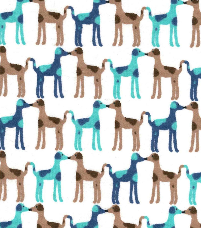 Snuggle Flannel Fabric Kissing Dogs Joann