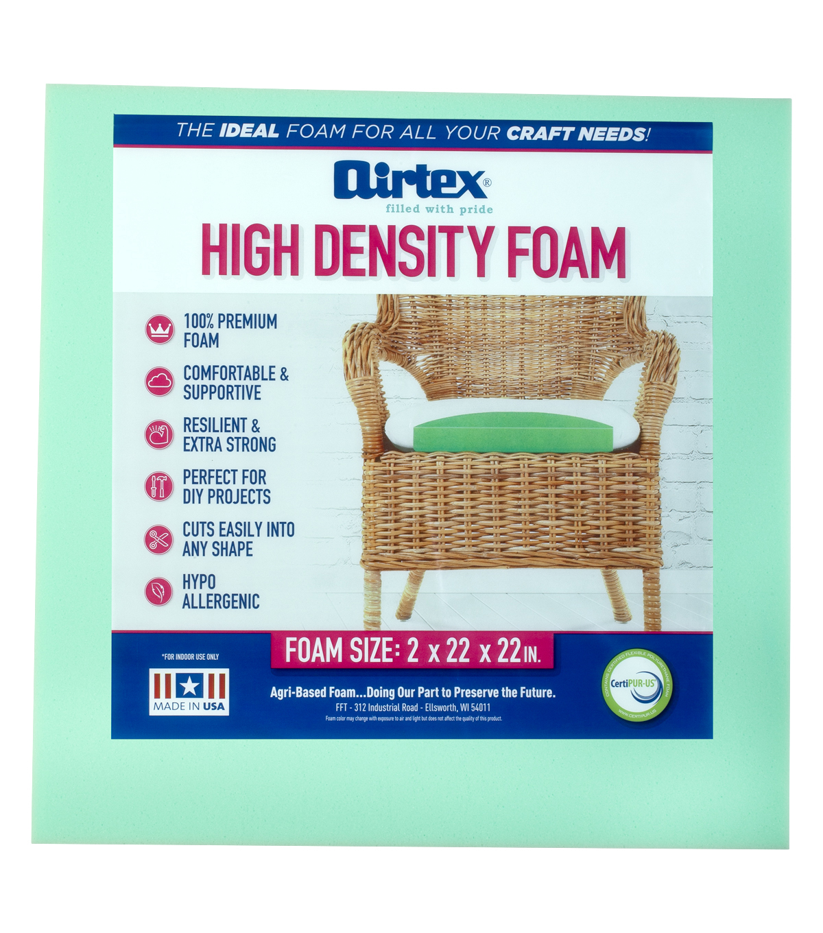 Airtex 6 pk 2\u0027\u0027 High Density Foam Chair Pads