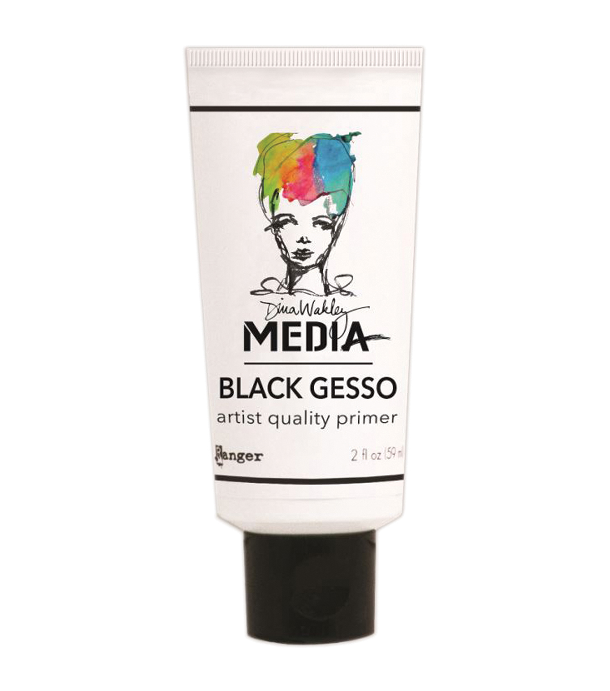 Dina Wakely Media Gesso 2oz Tube-Black