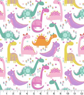 Novelty Cotton Fabric 43\u0022-Lacey Dinos & Flowers