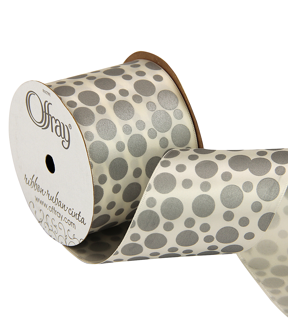 Offray 2.25\u0022 x 9\u0027 Dot Ribbon-Gray