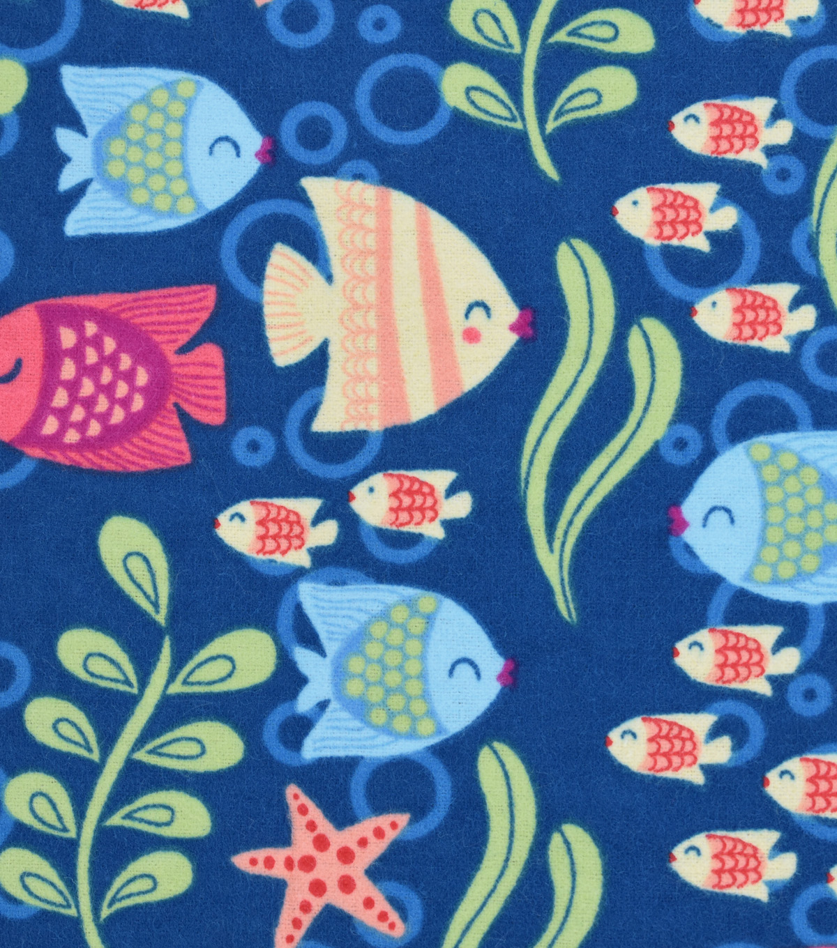 Snuggle Flannel Fabric -Kissing Fish