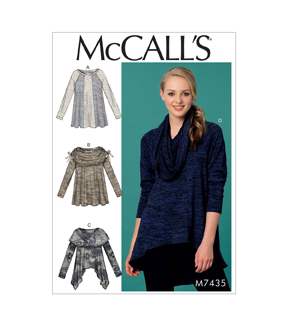 McCall\u0027s Pattern M7435 Misses\u0027 Paneled Knit Tops-Size 16-18-20-22-24-26