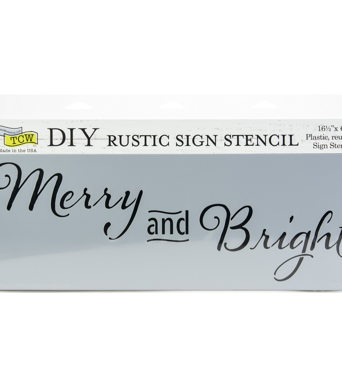 The Crafter\u0027s Workshop 16.5\u0027\u0027x6\u0027\u0027 DIY Rustic Sign Stencil-Merry & Bright