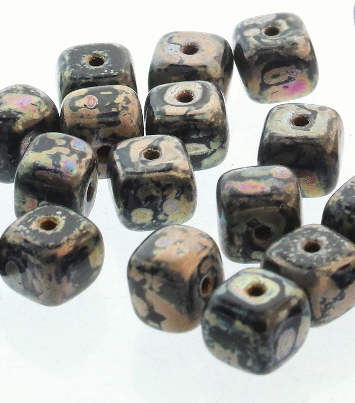 Strung Beads-Picasso 5X7mm Cube Beads Jet