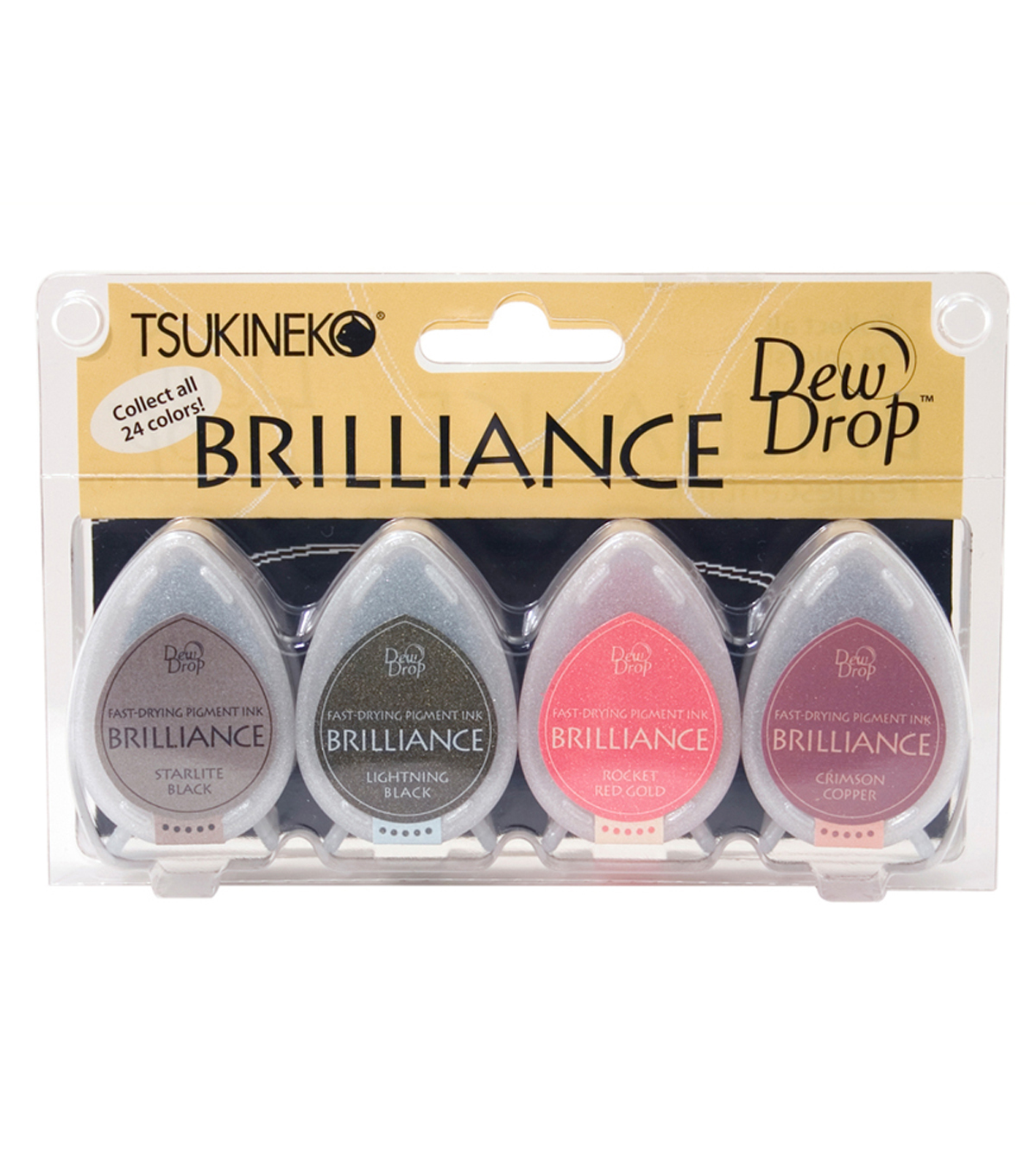 Tsukineko® Brilliance Dew Drop Pigment 4 Pack Inkpad-Two Tone
