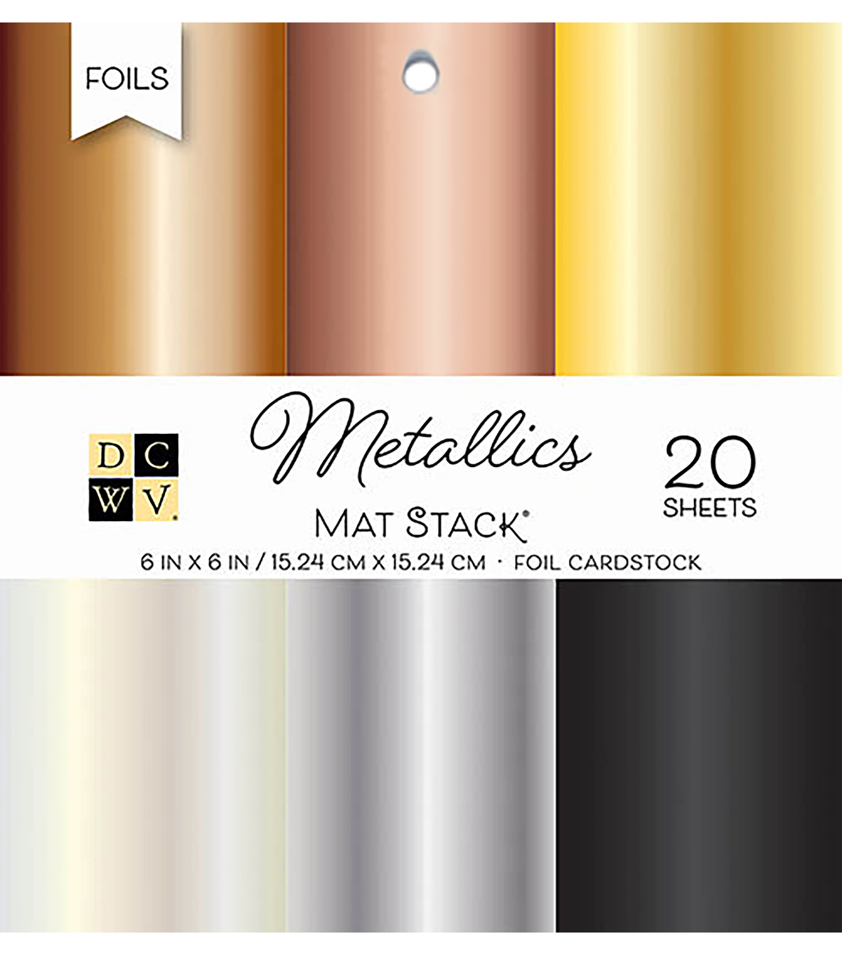 DCWV 6\u0022x6\u0022 The Foiled Cardstock Stack