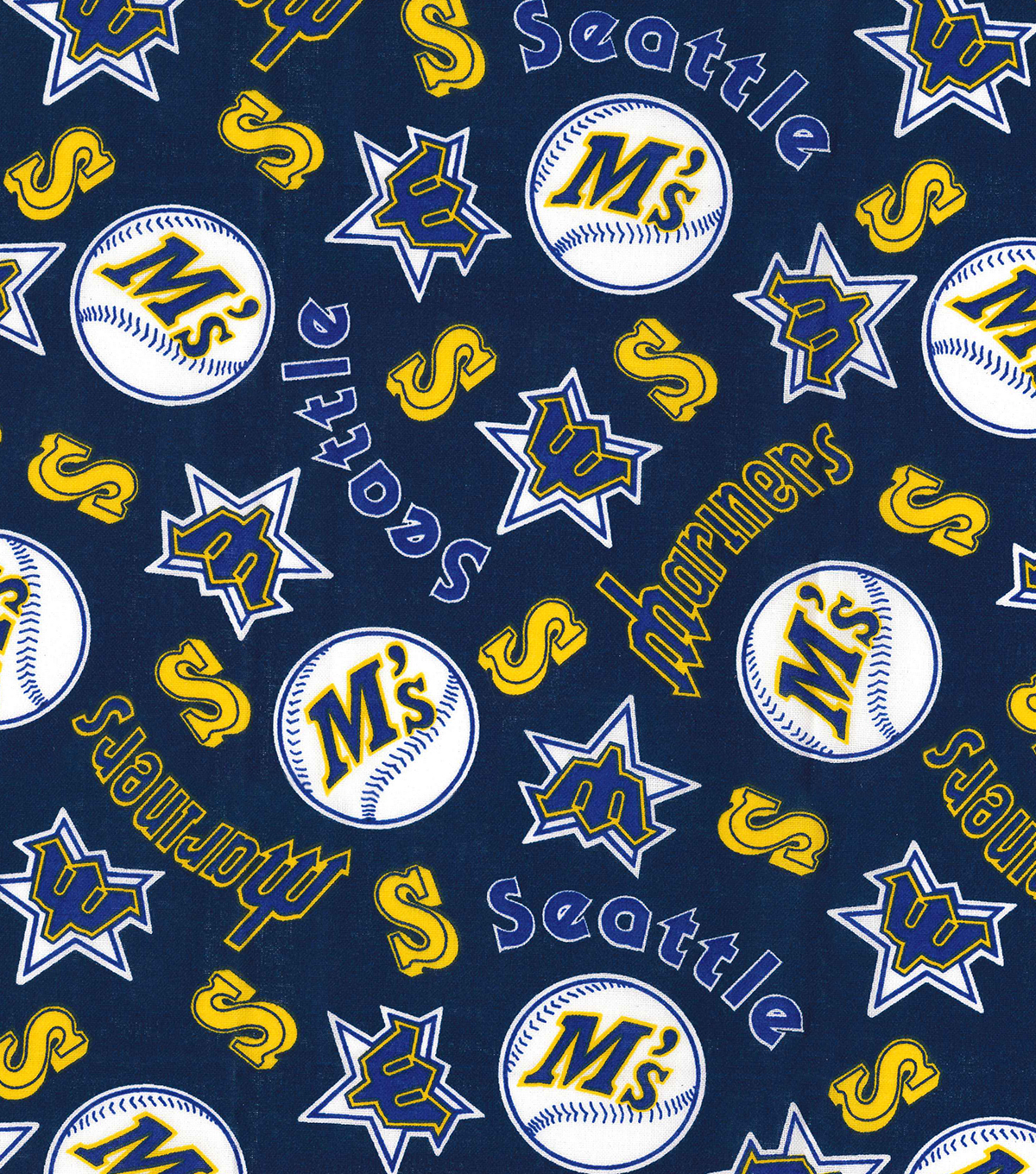Seattle Mariners Cotton Fabric 44 Navy Cooperstown Joann