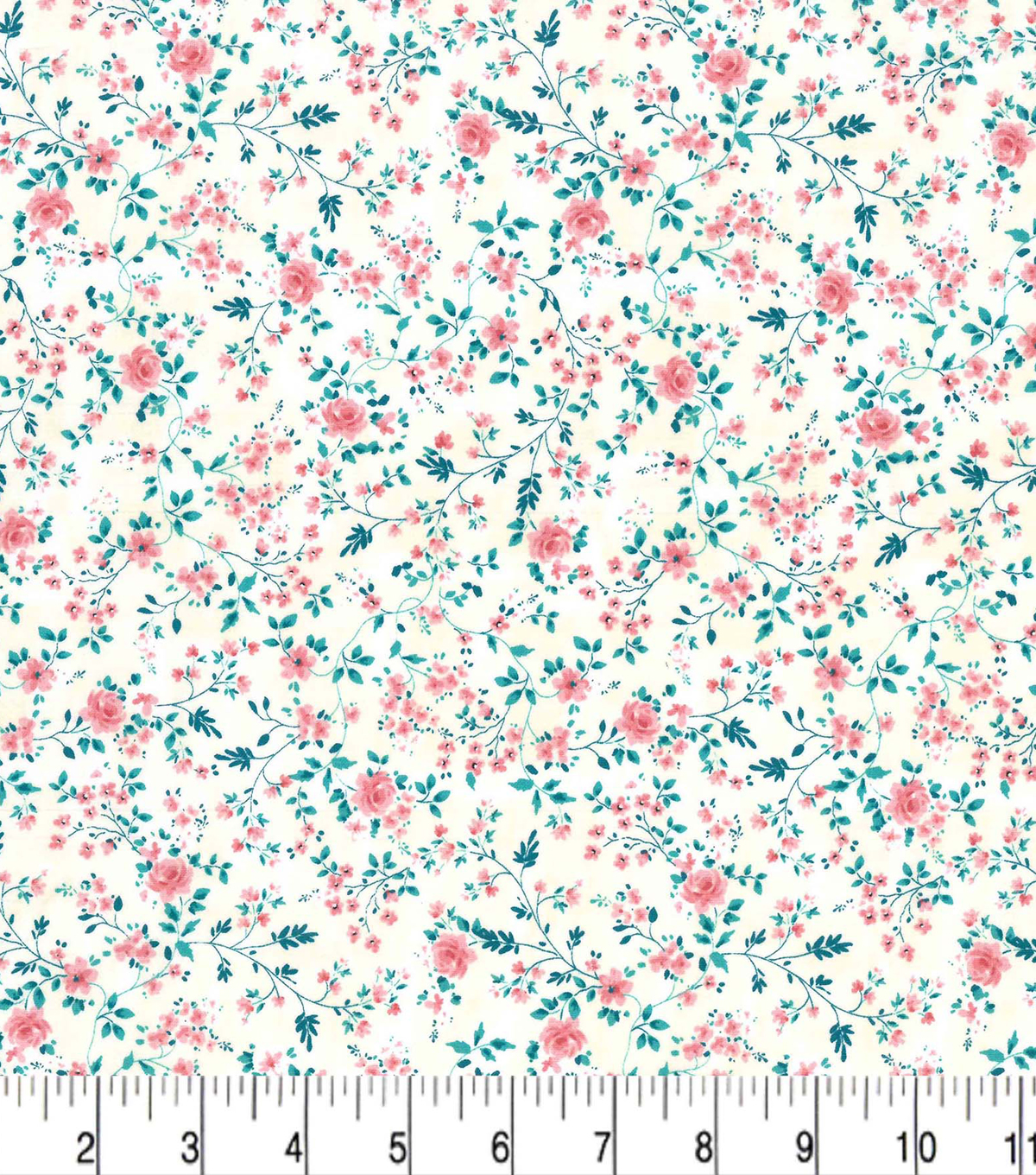 Premium Prints Cotton Fabric 43\u0022-Pink Vines & Roses