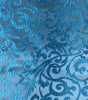 Brocade Intricate Scroll Fabric-Turquoise