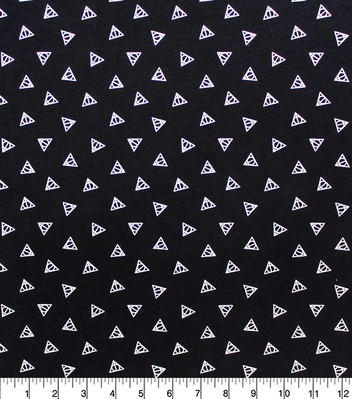 Harry Potter Knit Fabric-Deathly Hallows on Black