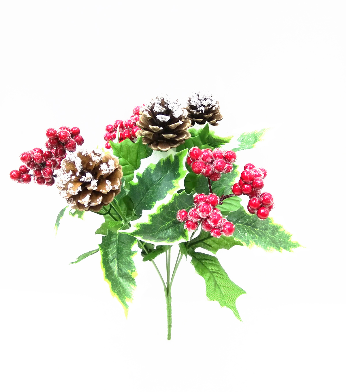 Blooming Holiday Christmas Red Berry, Pinecone & Holly Leaf Bush