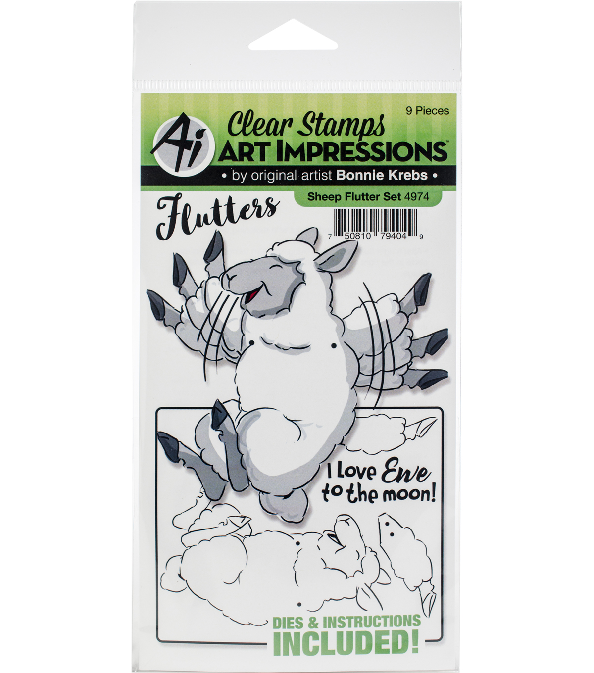 Art Impressions Flutters Stamp & Die Set-Sheep