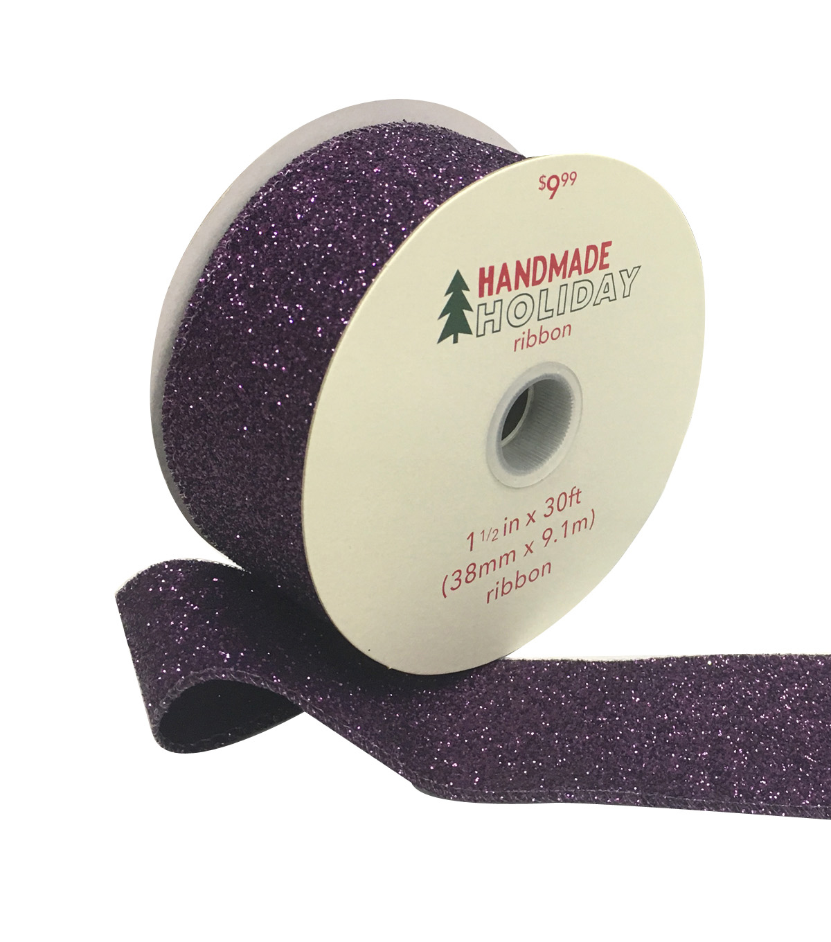 Handmade Holiday Christmas Glitter Ribbon 1.5\u0027\u0027x30\u0027-Purple