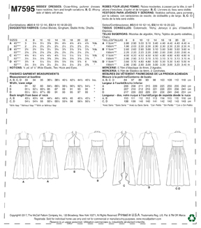McCall\u0027s Pattern M7595 Misses\u0027 Gathered-Waist Dresses-Size 14-22