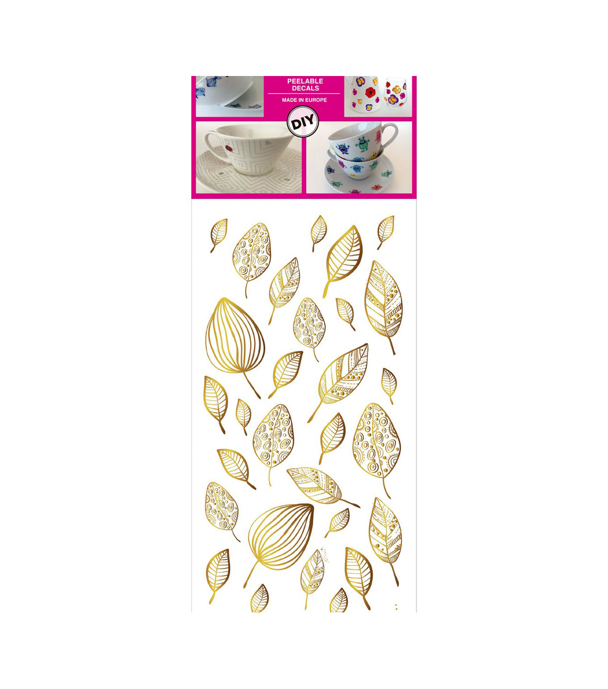 Decorprint Peelable Decals 3.75\u0022X7.75\u0022-Golden Leaves