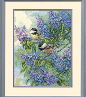 dimensions gold collection chickadees lilacs counted cross stitch