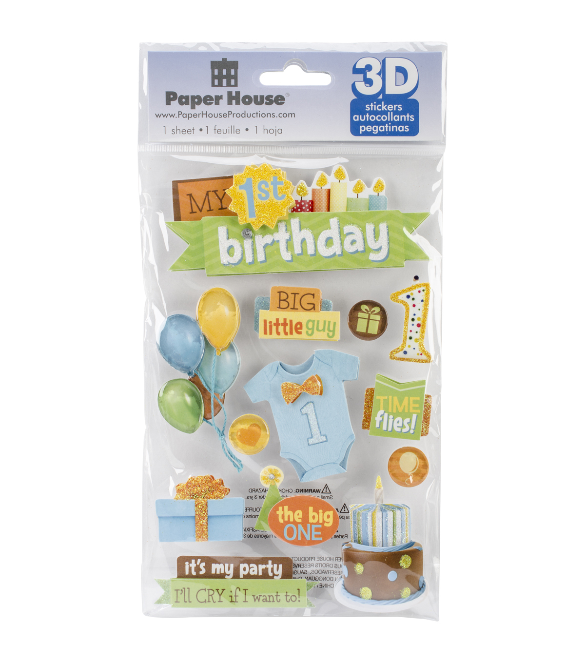 Paper House 3D Stickers-1st Birthday-Boy