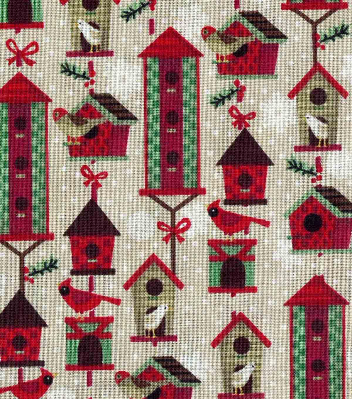 Christmas Birdhouses.Christmas Cotton Fabric Christmas Birdhouses