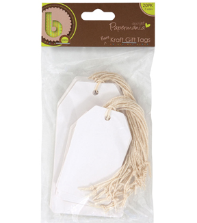 Papermania Bare Basics Cardstock Tags W/String 20/Pkg-White Shipping