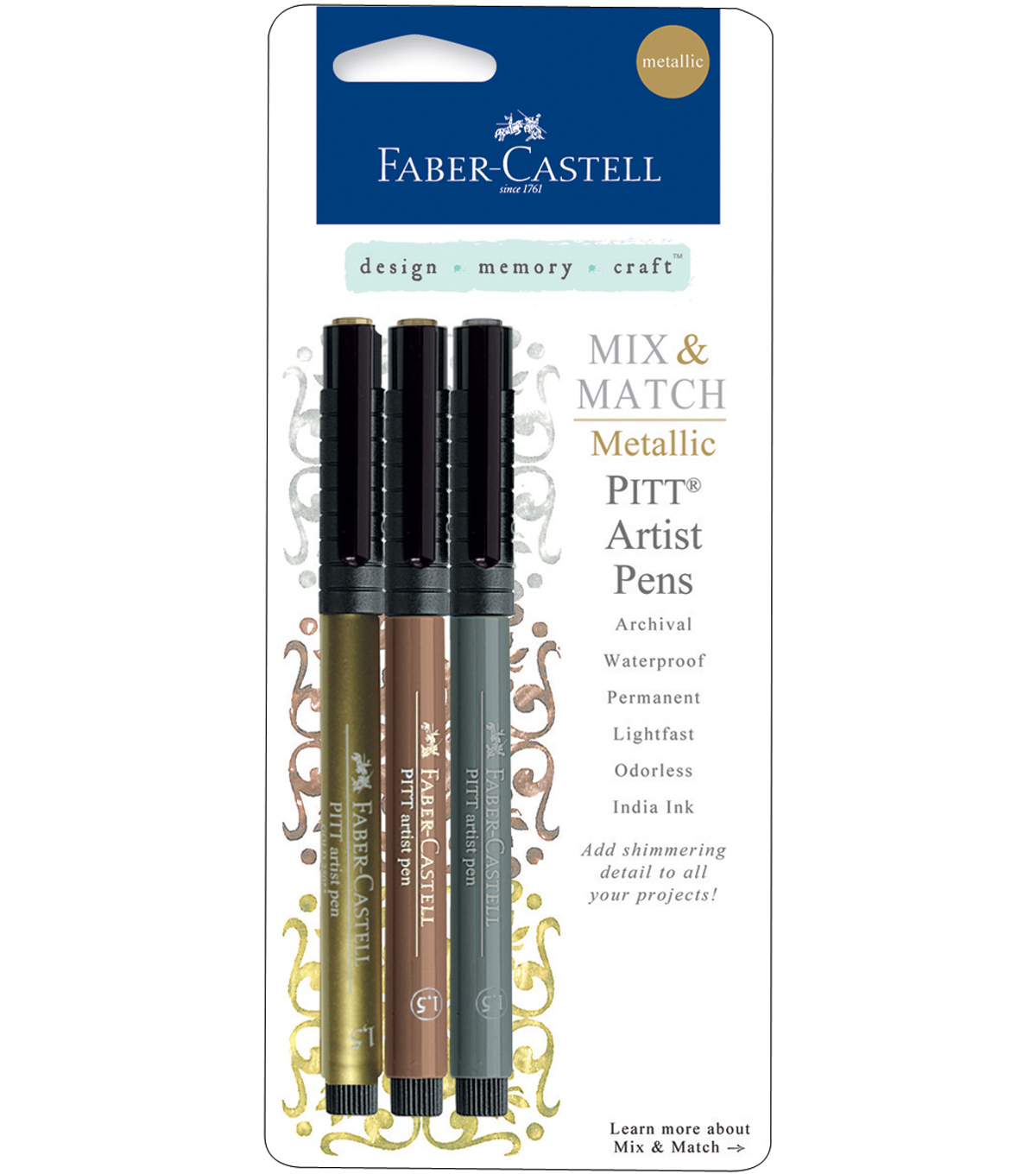 Mix & Match Metallic Pitt Artist Pens 3/Pkg-Classic-Gold, Copper, Silver