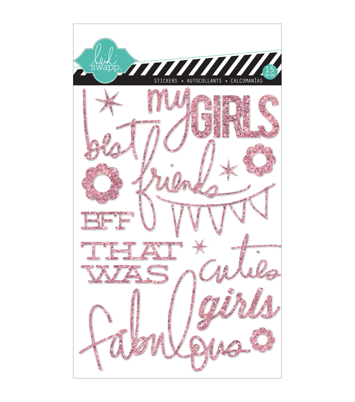 Heidi Swapp Mixed Media Glitter Stickers 5\u0022X7\u0022-Pink, Girls