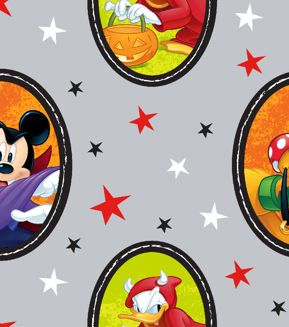 Disney Mickey & Friends Halloween Cotton Fabric-Fun on Gray