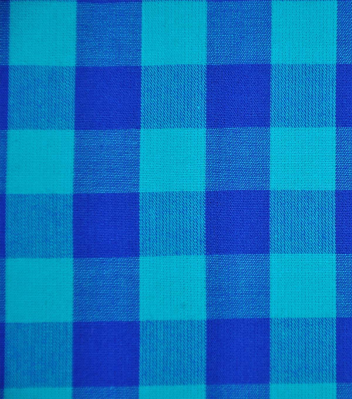 Cotton Shirting Fabric 42\u0027\u0027-Blue & Turquoise Big Gingham