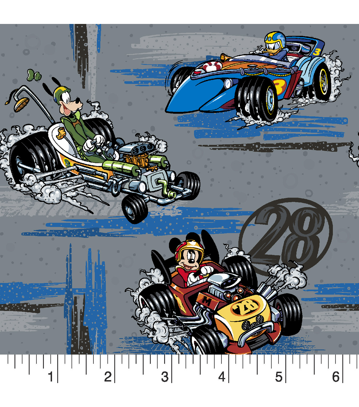 Disney Mickey & Friends Cotton Fabric -Roadster