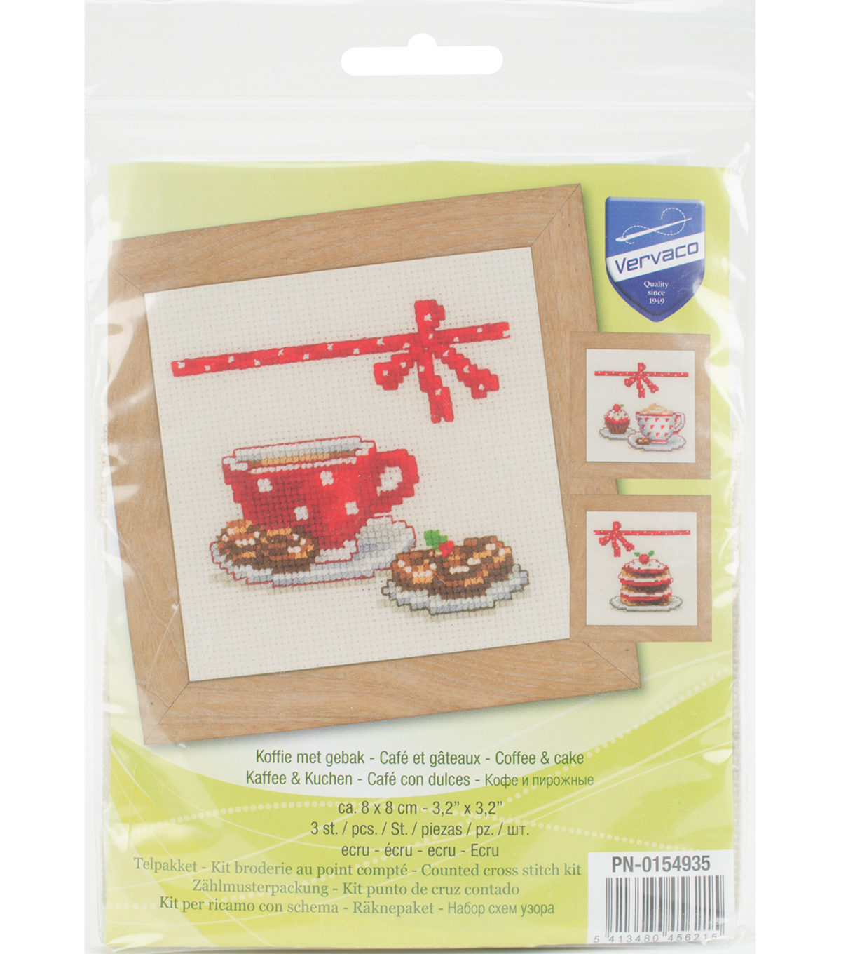 Vervaco 3.2\u0027\u0027x3.2\u0027\u0027 18-count Aida Counted Cross Stitch Kit-Coffee & Cake