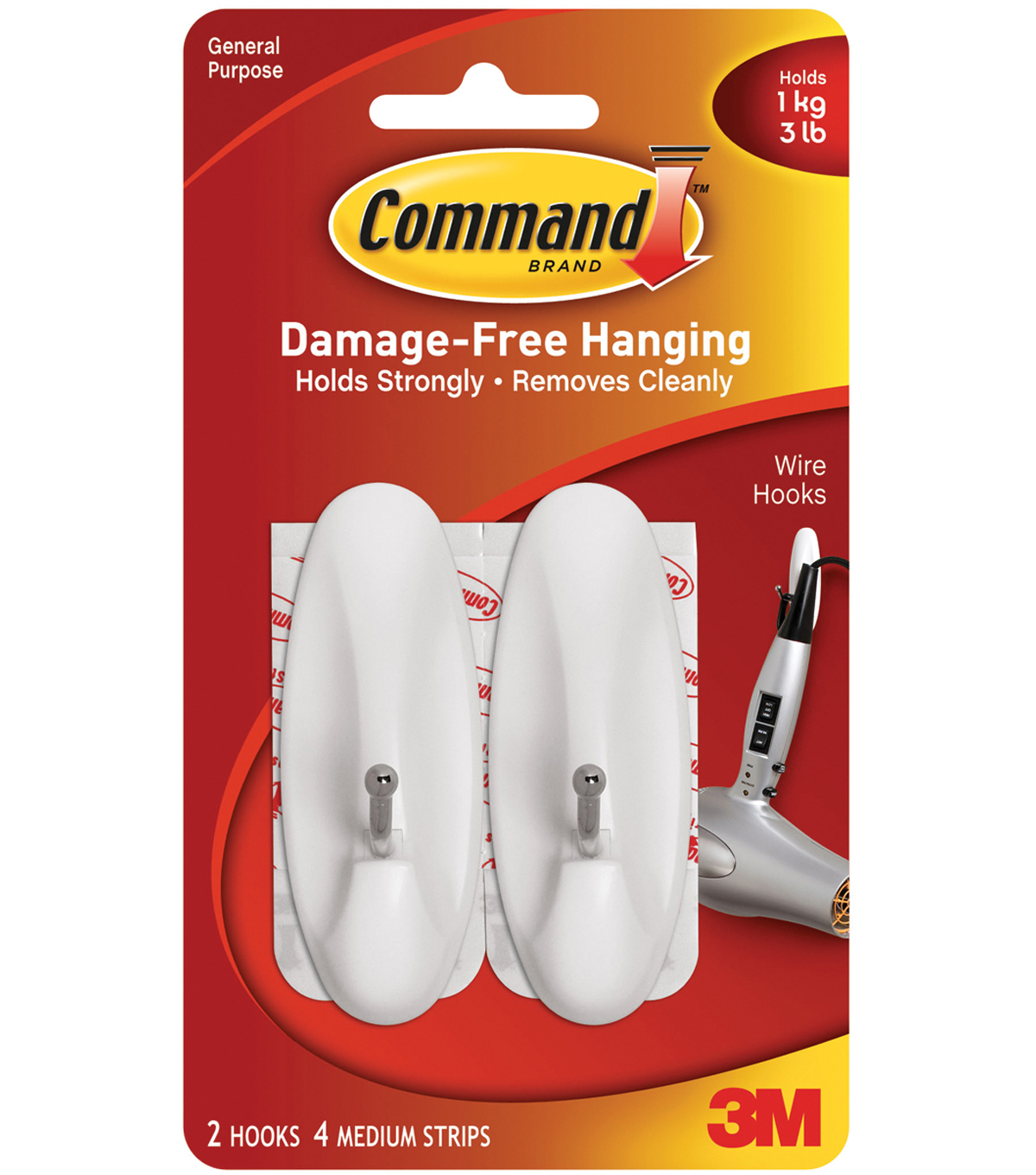 Command Medium Wire Hook W/Adhesive 1.19\