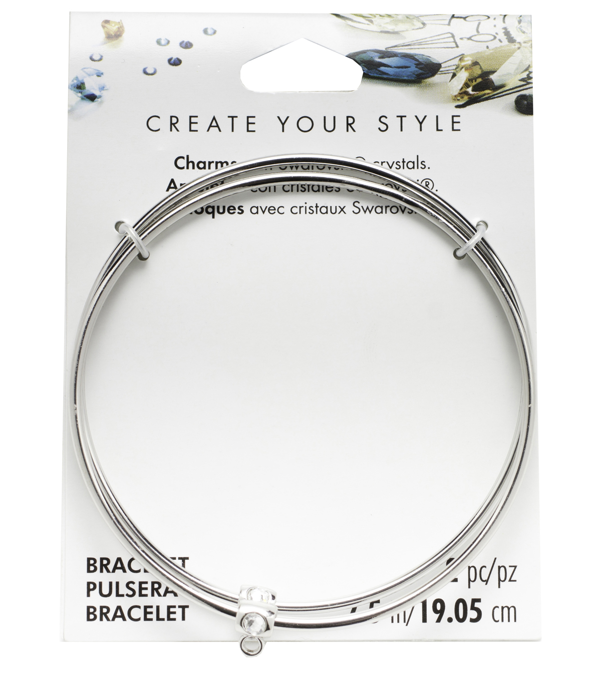 Swarovski Create Your Style 7.5\u0022 Bangle with Charms-Silver