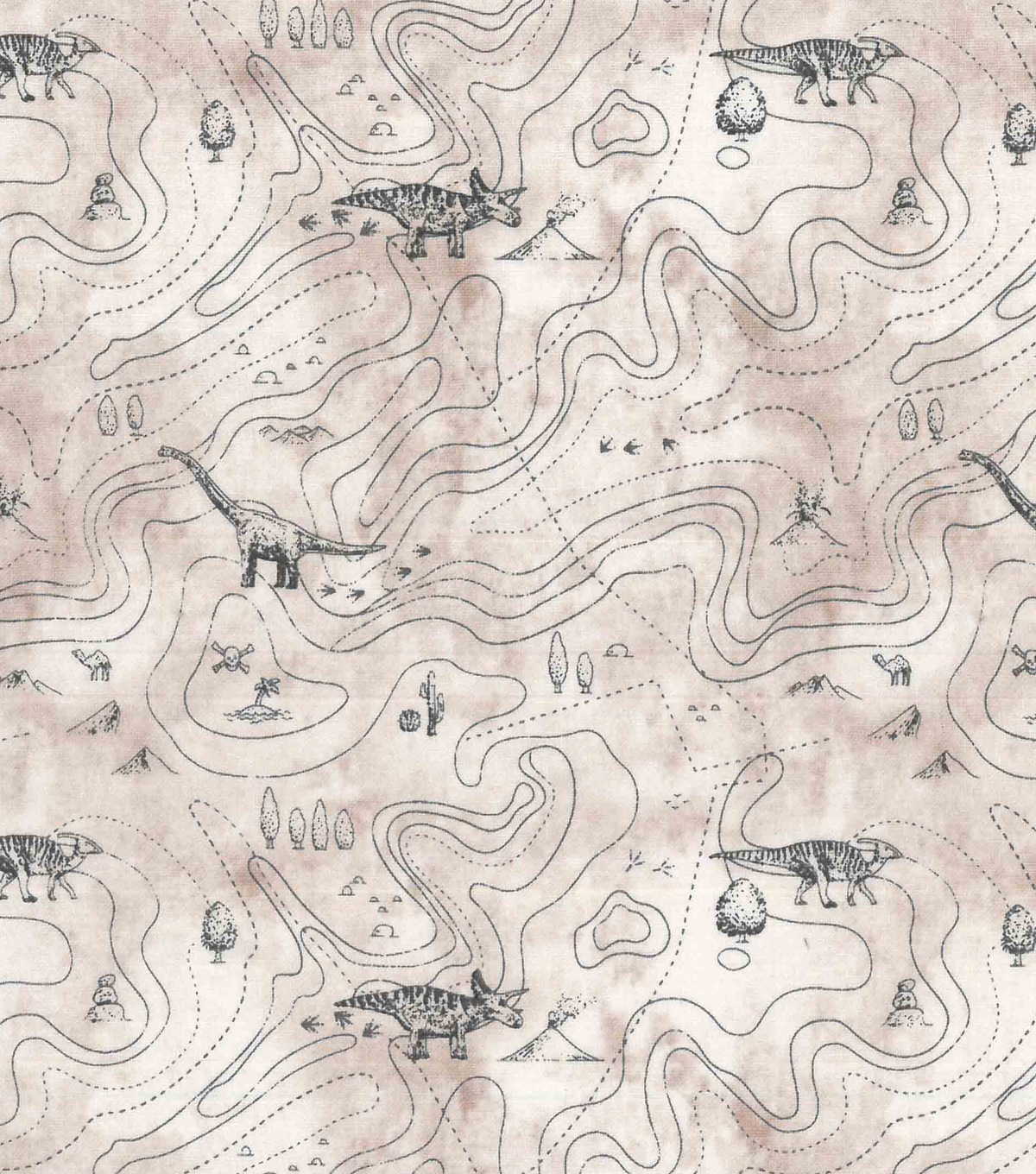 Premium Prints Cotton Fabric-Topographic Map of Dinosaur