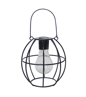 In the Garden Round Shaped Hanging Solar Lantern-Black