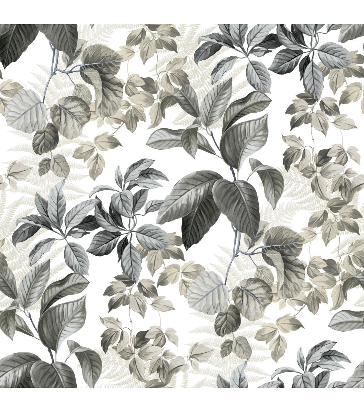 York Wallcoverings Wallpaper-Rainforest Neutral Leaves