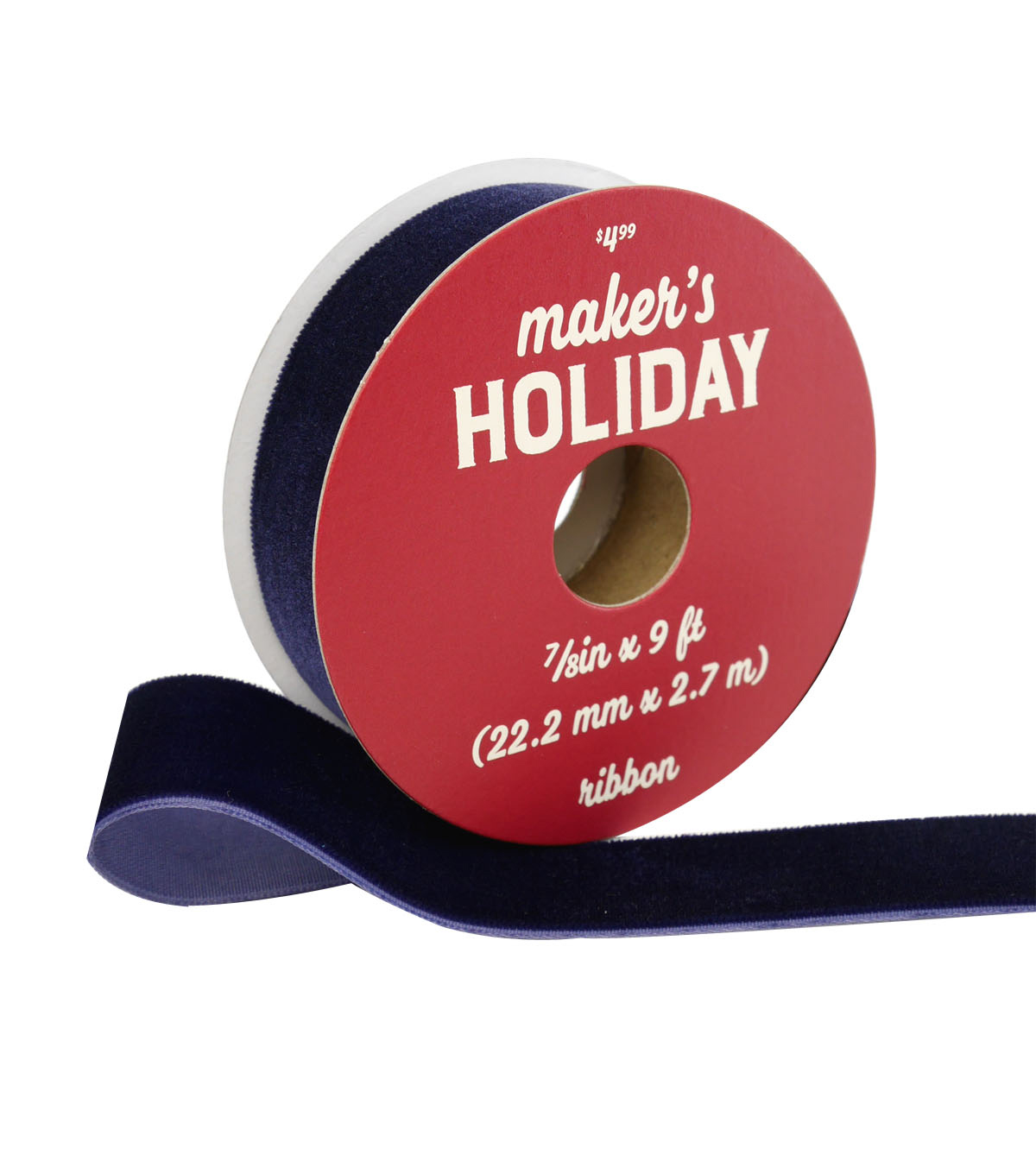 Maker\u0027s Holiday Traditional Holiday Velvet Ribbon 7/8\u0027\u0027x9\u0027-Navy Blue