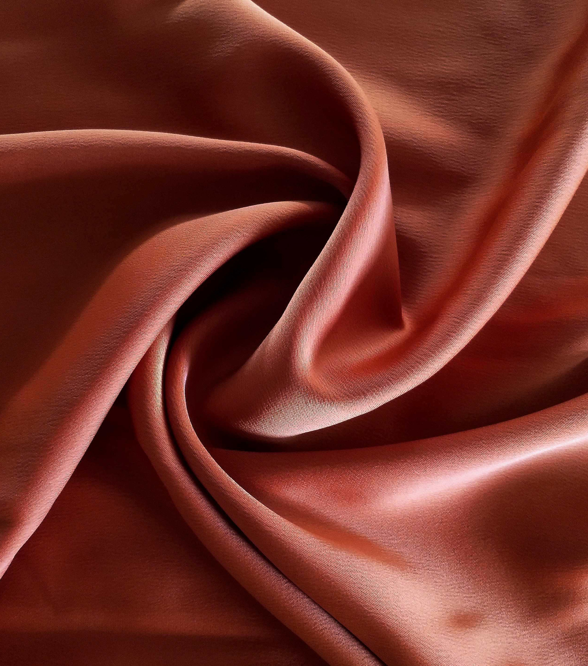 Silky Stretch Satin Fabric-Textured Solids, Rust