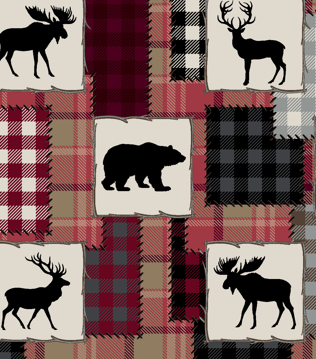 12cb61da642b Snuggle Flannel Fabric -Bear Lake   Red Patch
