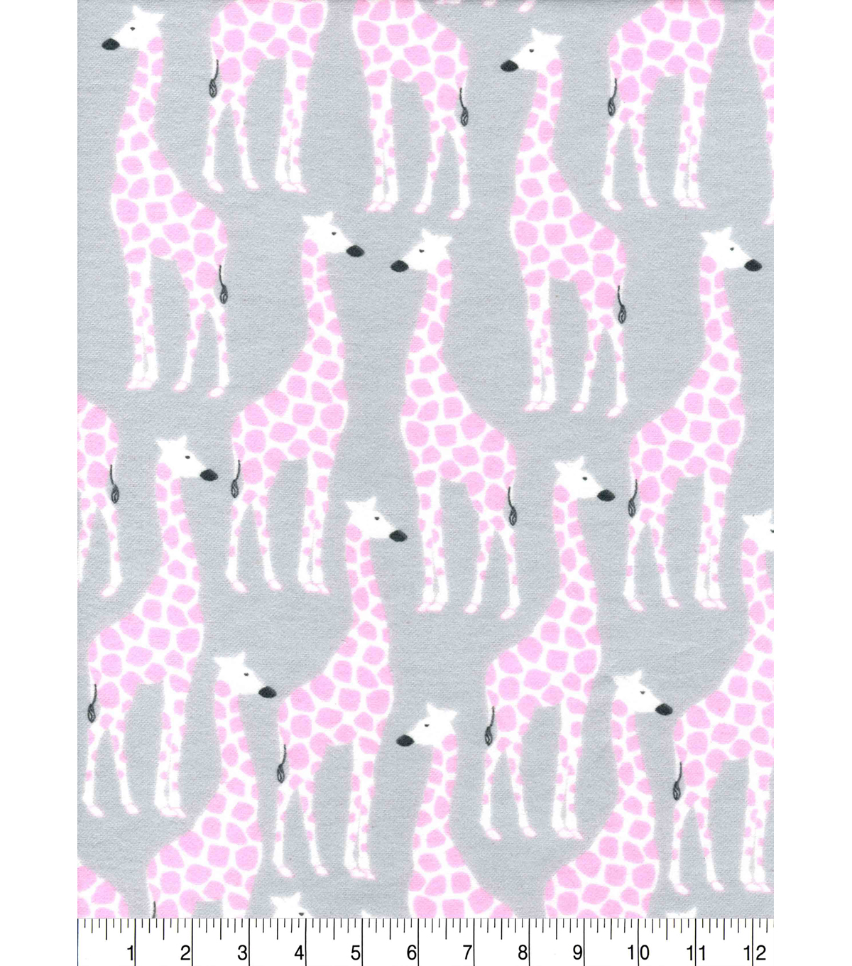 Snuggle Flannel Fabric -Pink Print on Giraffes