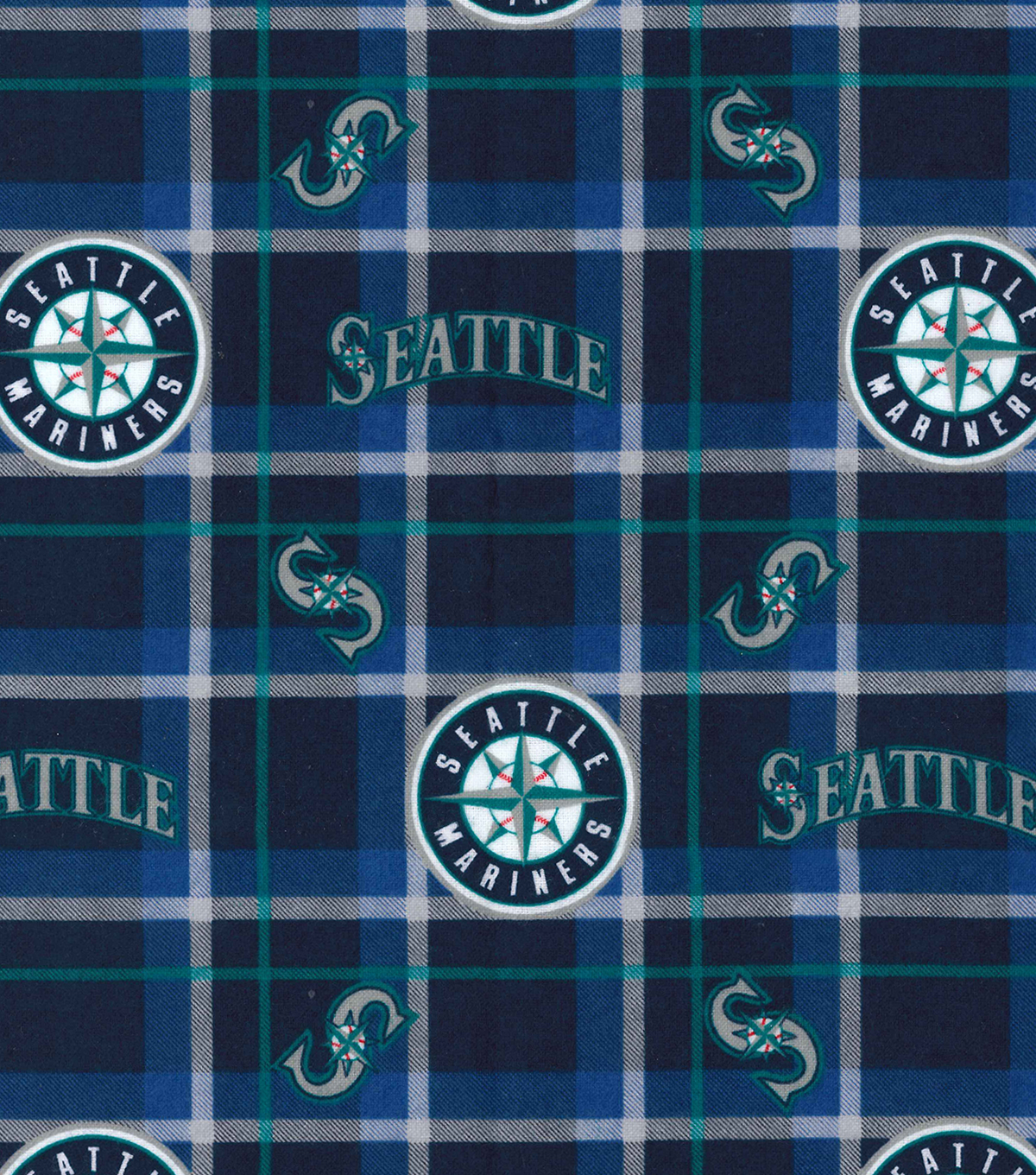 Seattle Mariners Flannel Fabric-Plaid