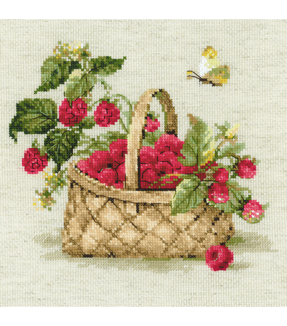 RIOLIS 11.75\u0027\u0027x11.75\u0027\u0027 Counted Cross Stitch Kit-Basket of Raspberries