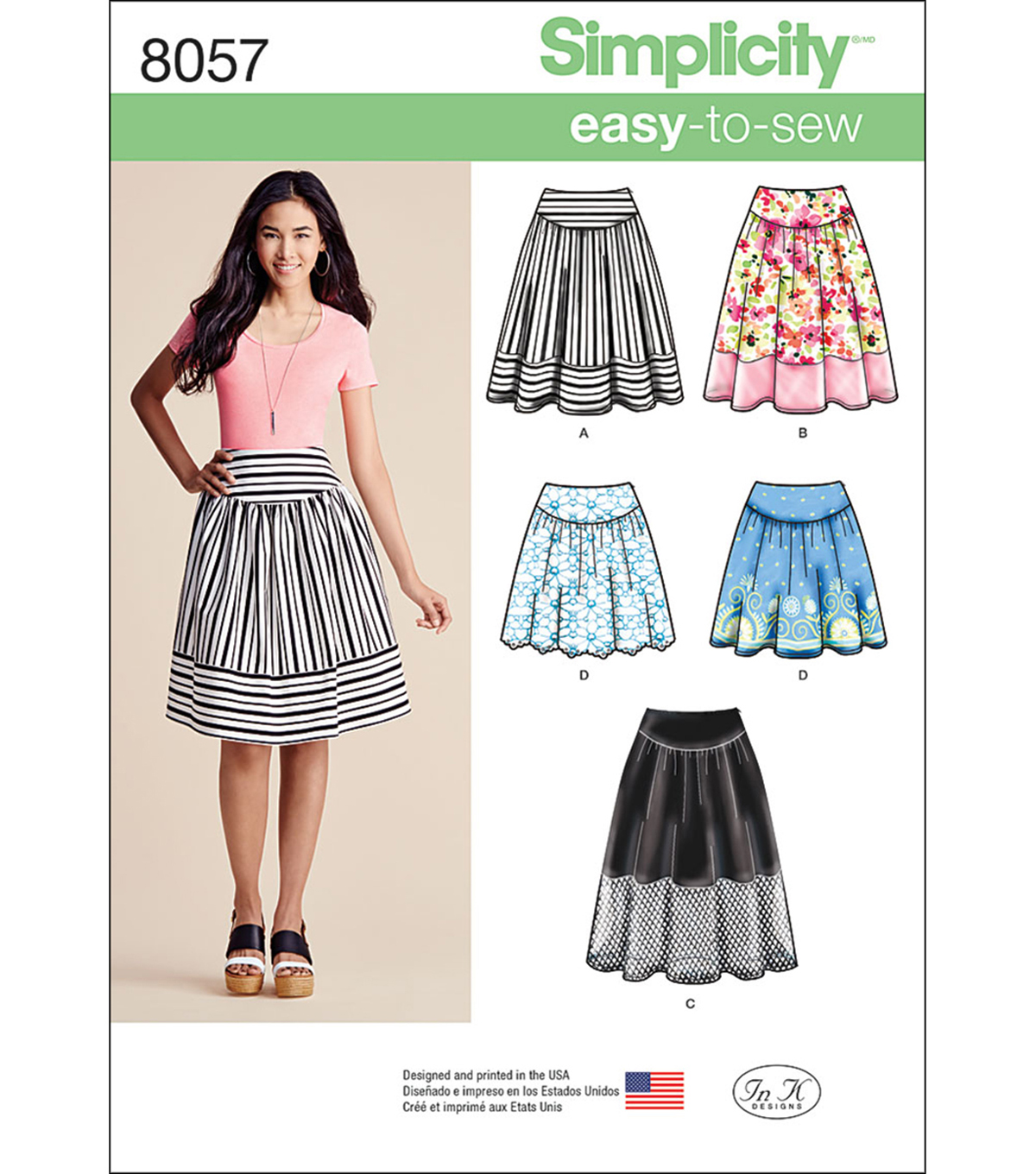 Simplicity Misses\u0027 Easy-To-Sew Skirts In Three Lengths-14-16-18-20-22