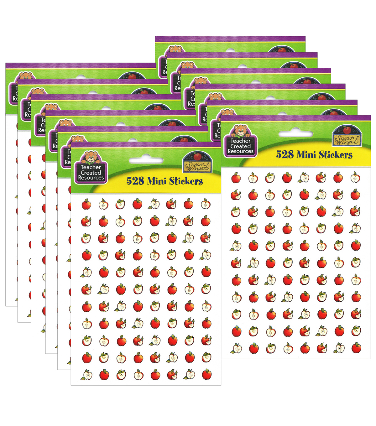 Teacher Created Resources Apples Mini Stickers 528 Per Pack, 12 Packs