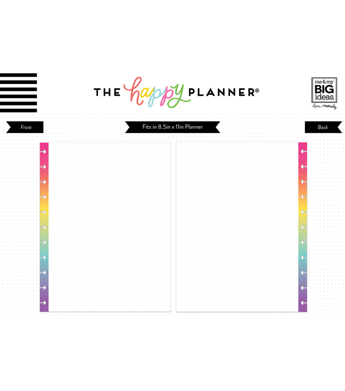 The Happy Planner Big Note Papers-Rainbow Dot Grid
