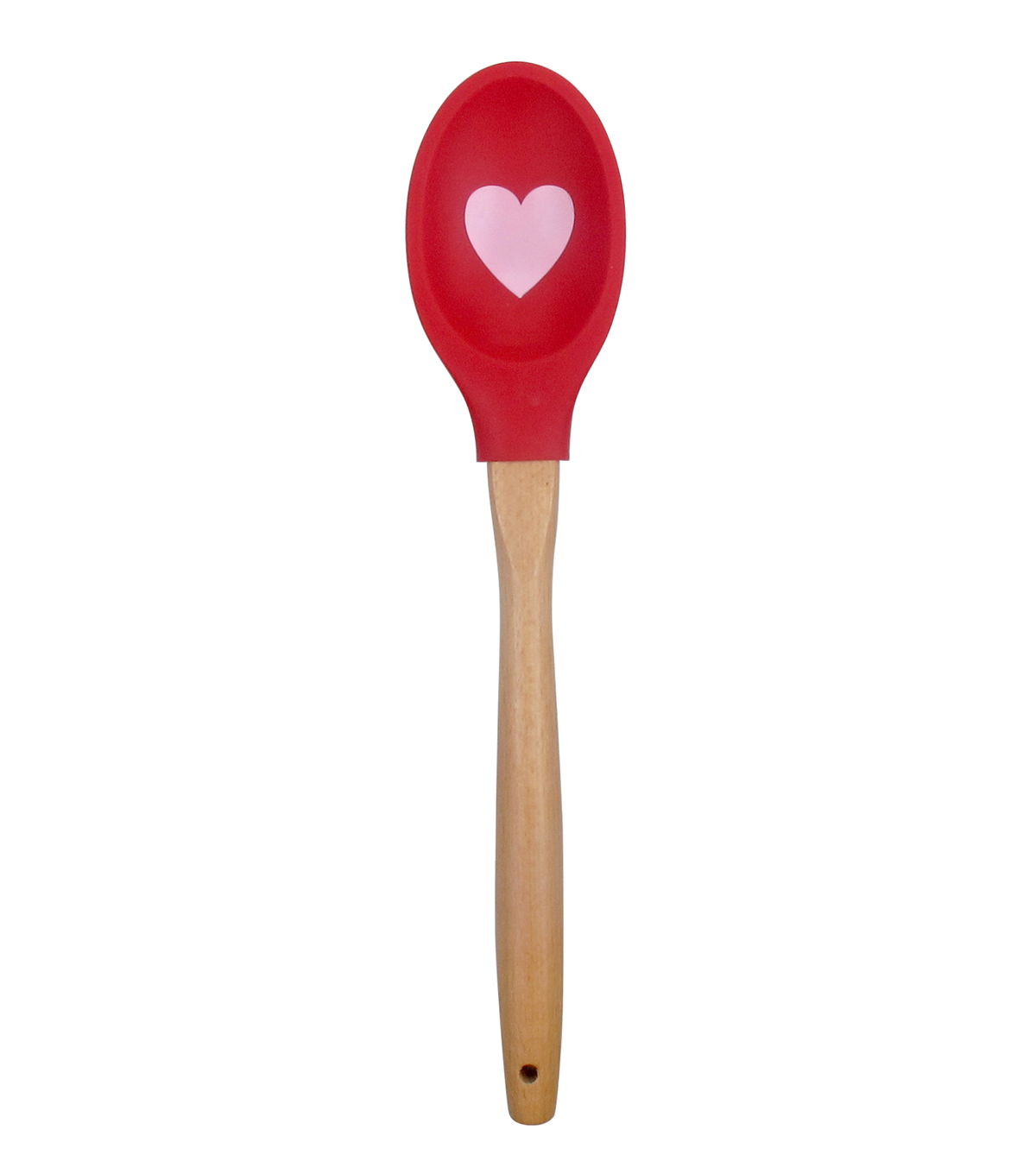 Valentine\u0027s Day Silicone Printed Spoonula with Wood Handle-Heart