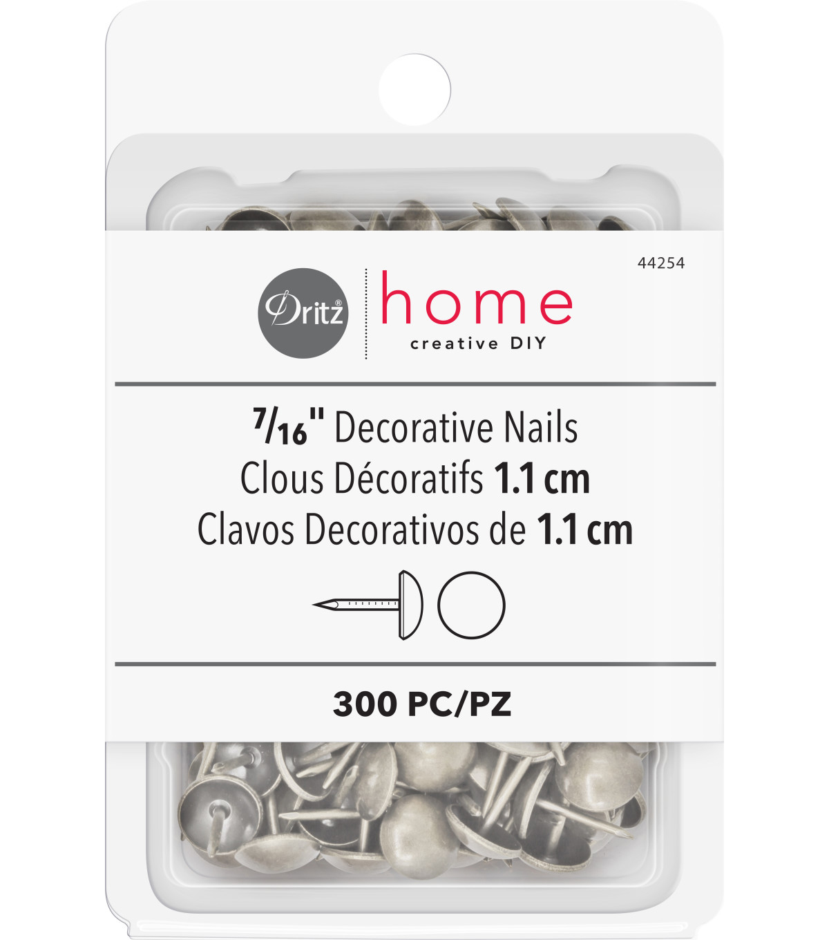 Dritz Home 300pk Decorative Nails-Brushed Silver