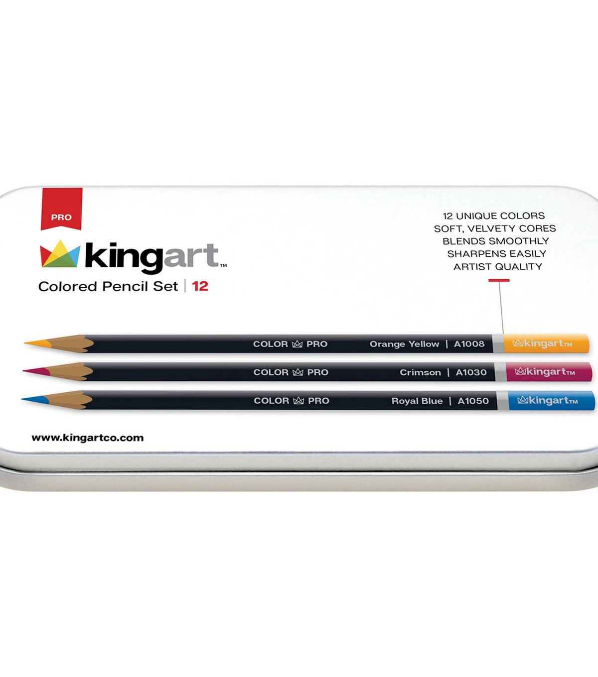 KINGART Colored Pencil Set In Tin Case 12/Pkg-Assorted Colors