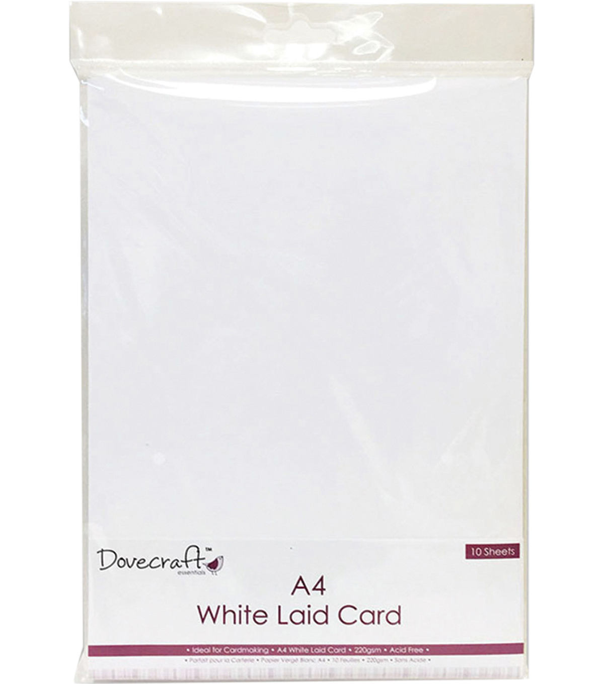 Dovecraft 10 pk A4 220gsm Laid Finish Cards-White