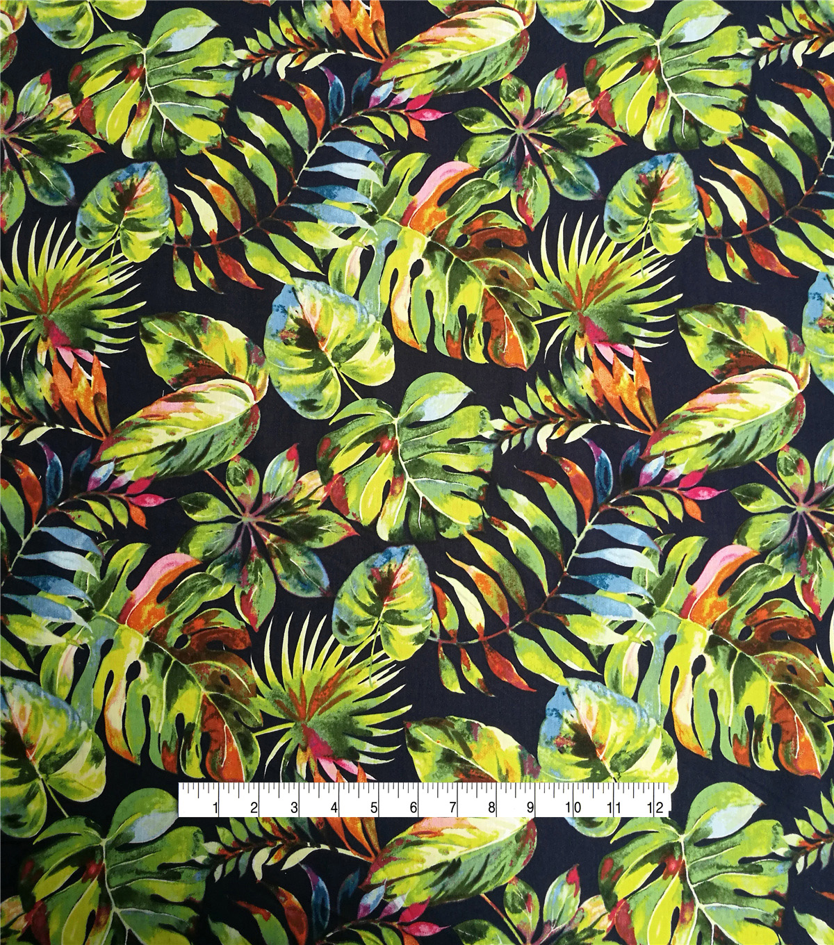 Cotton Shirting Fabric-Tropical Fronds on Navy